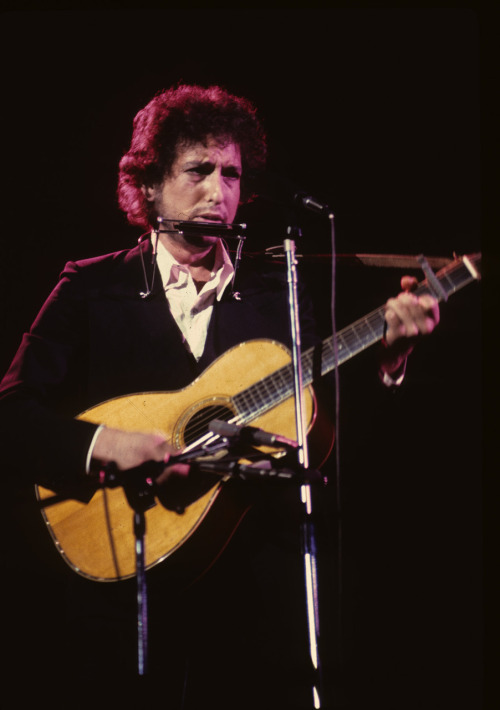 My first concert that I ever photographed. Bob Dylan with The Band in Los Angeles 1974. I took the photo from my front row seat where I was sitting with my best pal Jeff Sackman. Photo by Brad Elterman