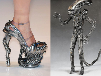 Heels inspired by Giger's Aliens. I could never, ever walk in them, but DAMN. Impressive. pigtailsandcombatboots:  bronz-age:  squirrels-are-friends:  colamonstrosity:  unknownskywalker:  A look at the some of the inspiration behind the late Alexander McQueen's latest runway collection. wickedhalo »     Yes.