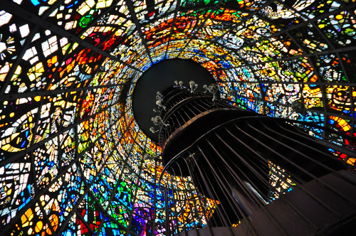 Inside Kaleidoscope (via Ame Otoko) At the Hakone Open Air Museum in Japan, you can enter a stained glass tower which gives you the feeling of being inside a kaleidoscope.