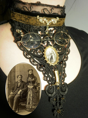 clockworker:  Bearded lady Steampunk Black Lace Choker. (via Amanda Scrivener)  Cloggo:- I can identify the bearded person in the small picture. It is Arthur Blenkinsop, Royston Vasey's famous Spy. Despite being trained by Mata Hari he never quite got the subtle nuances of disguising himself as a woman. After the Great War however he had a long and successful career as the Bearded Lady in Tommy Jenks' Circus.  z