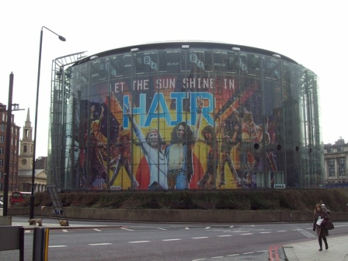 This is the BFI IMAX - it's on the Southbank side of London (next to Waterloo station / end of Waterloo bridge). Best bit of theatre marketing EVER! Dewynters done good! :-D (via fuckyeahhairtribe)