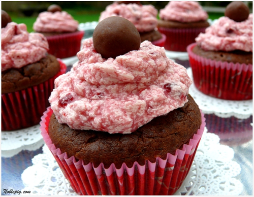 "Double Chocolate Malt Shop Cupcakes with Cherry-Vanilla Buttercream. In the words of Liz Lemon, ""I want to go to there."""