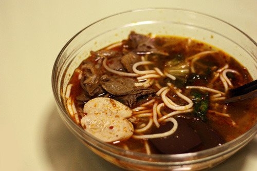 { Bun Bo Hue. } My absolute favourite Vietnamese dish!  Hue-style rice vermicelli with beef, pork, mixed lettuce, Chinese spinach, basil and a whole lot of chilli/satay.  Best. Shit. Ever.  I could eat this every day for the rest of my life.