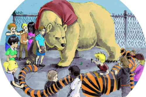"le-tigre:  Calvin and Hobbes vs. Winnie the Pooh and Christopher Robin. I'd pick Calvin and Hobbes…Calvin is way more badass than Christopher Robin.  Although Winnie the Pooh is pretty fucking giant… shitdisco:thedailywhat:   Amanda Kadatz: ""Schoolyard Takedown"" [h/t: 9gag.]    Oh my god, wooooah this is awesome. Deffo on C&H side because Hobbes is badass"