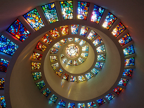 Stained Swirl (via sarider1) The Glory Window of the Chapel at Thanksgiving Square.