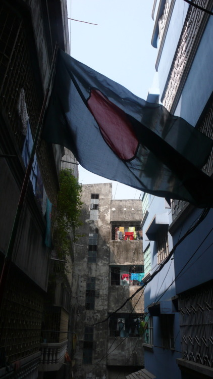 Jan. 2009. National flag in alley way. Dhaka, Bangladesh
