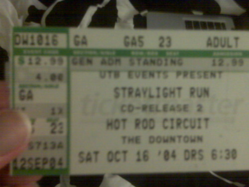 In honor of Straylight Run's hiatus announcement yesterday.  This ticket was from the second of two shows they held at the Downtown (RIP) on Long Island for the release of their first album. This show ruled for a million reasons - some which I illustrated in this post a few months ago.  So much fun. Their announcement didn't surprise me but when I thought about it I got a little nostalgic about this show, listening to the demos for the first time and getting super excited and other nerdy aspects of my love for Straylight. Oh also, John Nolan is going to have a ode to Straylight Run over the next few days over at his Tumblr so ch ch check out. Shaun Cooper has a Tumblr too and posted a sweet blog yesterday about the announcement.  I got a little teary yes I did. Kudos.