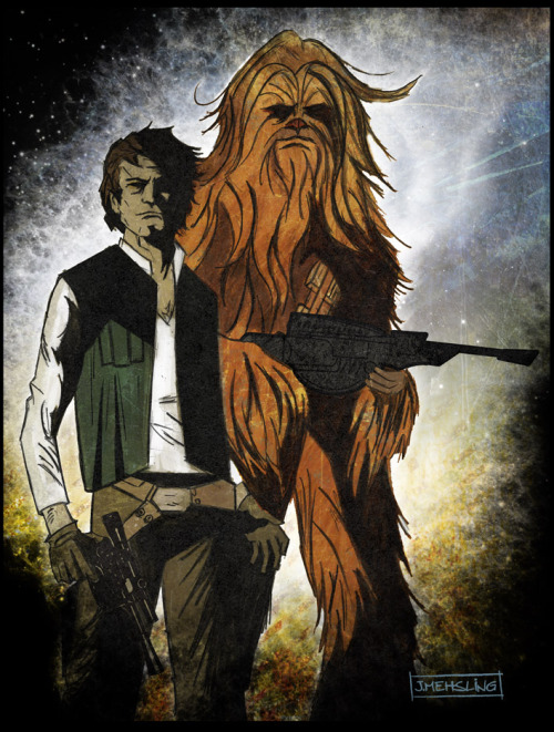 fuckyeahhansolo:  dbsw:  Solo and the Wookie || by Jim Mehsling (via comicbooks)