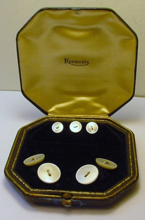 It's On eBay Gold & Mother of Pearl Cufflink & Stud Set I really don't think it gets much more elegant than this.  Spectacular. Starts at $9.99, ends Sunday