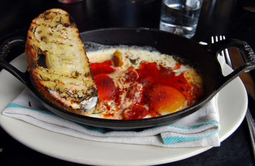 f-word:  baked eggs with sweet tomato, basil, paprika and grilled bread photo by jslander