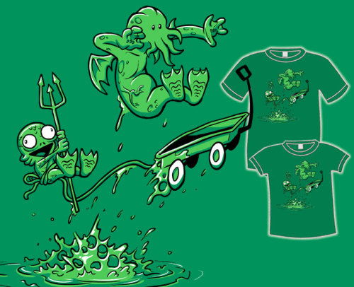 "thedailywhat:  Tee of the Day, Too: ""Cthulhu and Hobbes"" from TopatoCo. Irrespective of the fact that Hobbes is clearly the Cthulhu in this reimagination, the design is still really cool. I mean R'yleh cool. [fashionablygeek.]"