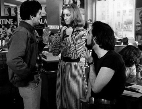 Cybill, De Niro and Scorsese on the set of Taxi Driver.