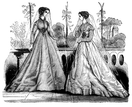 Victorian wedding dress as seen from an 1867 issue of Harper's Bazaar.