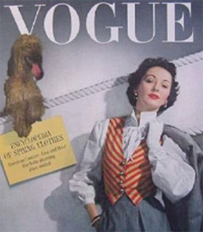 A 1940s issue of Vogue showing an inner blouse and waistcoat worn with a ladies suit.