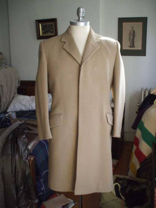 It's On eBay Huntsman Covert Coat (Dated 1963) The covert coat is a spring riding coat - durable and mid-weight.  It was originally designed for riding, and the stitches on the sleeve are for extra durability in the face of brambles.  They're tough to find in the US of A - even finding the cloth, a wool twill, can be hard.  This one was bespoke for someone in 1963 and is in lovely conditon.  And who can deny an eBay seller with a Hudson's Bay blanket in the background and the username Mr. Wooster? Starts at $14.99, ends Sunday