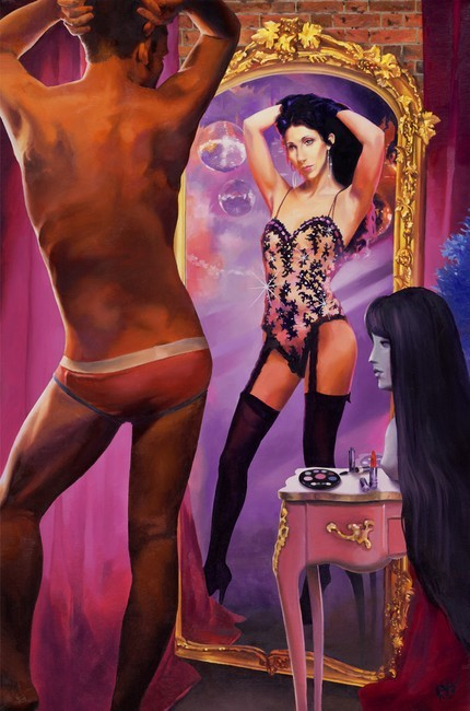 "My painting ""The Cher Within"" depicts the magical moment when a drag performer prepares to cross the line between ambiguous guy in his underwear to full-on diva extraordinaire, in this case fashioned after his ultimate heroine, Cher. The painting also represents the diva in everyone, those who have actually taken their sequinned acts to the stage and those who may have offered more intimate performances behind bathroom doors, with towels for wigs and hairbrush microphones. (Paul Richmond)"
