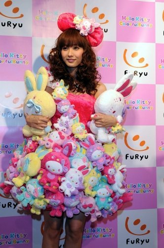 Fujimoto Miki wearing a Hello Kitty x Colorful Bunny Dress