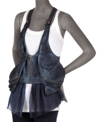 Peplum vest by La Rok, $198.00 at Cusp by Neiman Marcus.  This is a total mindfuck.  Who knew someone could make a vest out of Alexander Wang's Donna Hobo bag  Wang's team should sue for copyright infringement.  Of course, Wang's bag doesn't have that nifty strip of chiffon tacked to the bottom, that really classes up the vest.