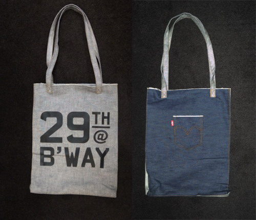 During NYC Fashion Week, we gave these Levi's selvage denim bags to hotel guests, and people who took home vinyl, Wings + Horns robes, flipbooks, Coto ties, or any other treats from the array of Ace wares by the front desk. The bags are a good marriage of the new and old — classic Levi's and the nascent classic of 29th and Broadway. OMFGCo designed the screenprint for the bags, and cranked them out in their studio with one hand, bottles of malt liquor in the other.