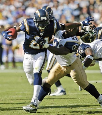 "Tomlinson released by Chargers  ""The San Diego Chargers released running back LaDainian Tomlinson Monday afternoon, according to a source.  Tomlinson played nine seasons in San Diego, but at the age of 30 and with declining numbers, Tomlinson has been anticipating his release for the past month. Tomlinson rushed for 12,490 yards in nine seasons and rushed for 138 touchdowns during his career in San Diego. He caught 530 passes and scored 15 touchdowns through the air."" espn.com"