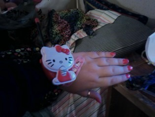 My Hello Kitty Wrist Walky talky ((my fr5iend has the other one)) and one of my Hello Kitty band-aids  Submitted by cupcakeloserrainbow