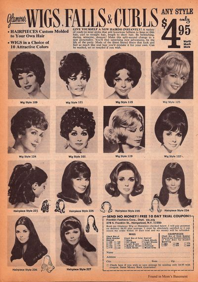"grebnekkah:  1970 ad for ""wigs, falls & curls"" - Found in Mom's Basement"