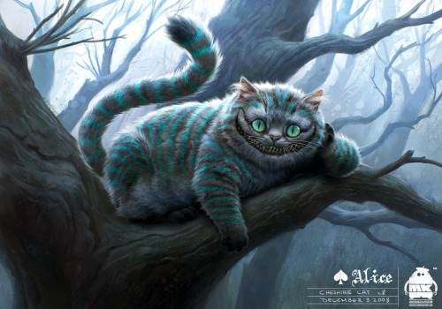 "fuckyeahwonderland:  Cheshire Cat Concept Art | by Michael Kutsche  MY MOST FAVORITE BOOK CHARACTER.Too bad he didn't say the line ""We're all mad here."" in the movie."