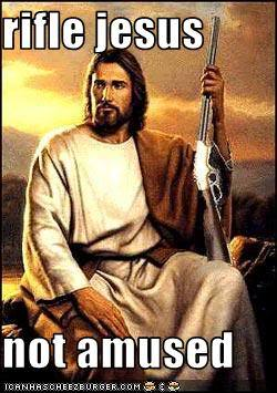 Rifle jesus is not amused via knowyourmeme.com