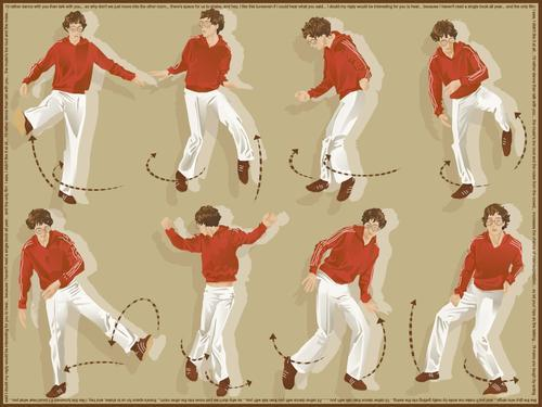 "erlendoye:  A diagram of the dance moves of Erlend Oye from the ""I'd Rather Dance With You"" video."
