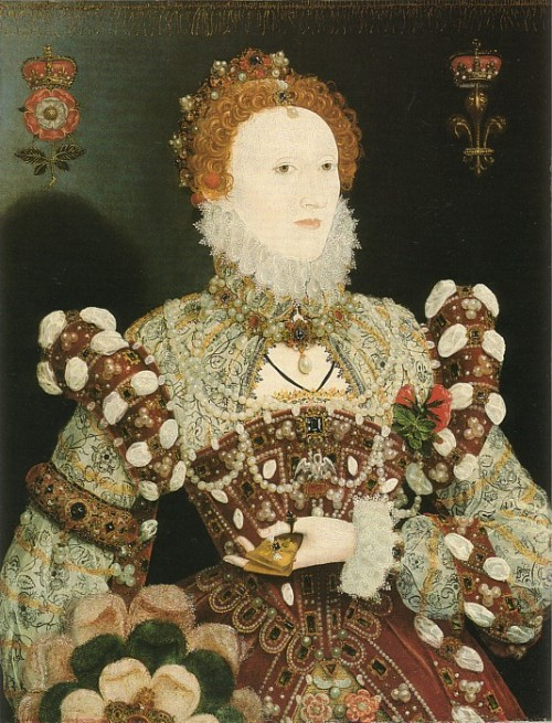 Elizabeth I: The Pelican Portrait (1575 by Nicholas Hilliard, Original portrait kept in the National Gallery, London)  We'd like to concentrate on an important aspect of Elizabethan costuming, and that is make-up. Here is an interesting article which talks about the beauty ideals back then, how it influenced the famous Elizabethan pale-face and bright lips look, along with authentic, albeit harmful beauty recipes and concoctions.