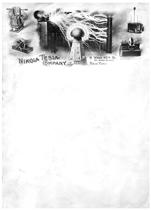 The suitably incredible business letterhead of Nikola Tesla, circa 1900. Inventions featured, clockwise from top-left: Oscillation Transformer, Telautomaton (wireless, remote-controlled devices; pictured is a remotely-operated boat, showcased in 1898), Steam & Gas Turbine, Induction Motor. Centre: Wardenclyffe Tower (never completed). Related letterhead: Thomas Edison. Nikola Tesla Company, c.1900 | Submitted by Gina