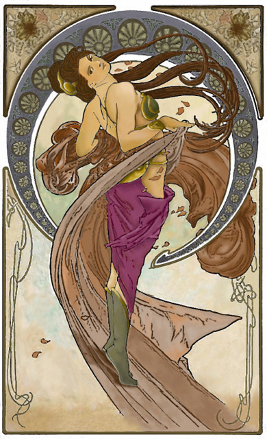 more art nouveau slave leia. not too faithful to the real leia's features, but it gets points for spoofing mucha's dance. dbsw |by Clone Leia