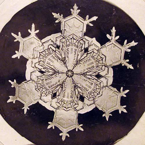 The first snowflake photographs from around 1900.