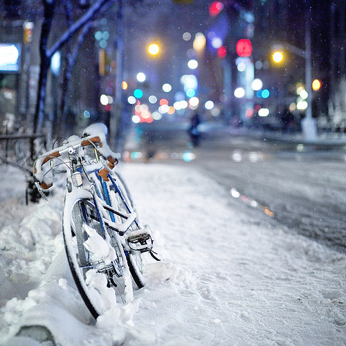 theworldwelivein:  Bike in the Snow (via Mute*)