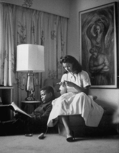 anneyhall:  i12bent: Sidney Poitier and his wife Juanita Hardy - by Gordon Parks, 1959 (LIFE)  (m.1950-1965; divorced) Had 4 daughters together