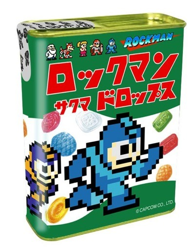 Mega Man 10 Sakuma Drops! Sakuma Drops are an old-fashioned Japanese hard candy available in various flavors, all of which come in totally sweet tins. These days, you can buy Sakuma Drops in distinctly non-candy-like flavors, including beer, monjayaki, miso ramen, and others. But the Rockman candies come in less emetic flavors like lemon, strawberry, plum, and pineapple, roughly color-coded to the game's bosses. If you'd like to see Sakuma Drops featured in a movie, and if you'd like to cry and cry, check out Grave of the Fireflies. You will cry, though. If you've seen the movie, you might be crying now from just the mention of it. See also: Mega Man 10 stuff