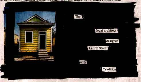 """The Local Architect"" by Austin KleonThis is from way back in 2005. When I first started making the poems, I tried to connect pictures from the articles with a few choice words. This turned out to be way too much of a constraint—never mind the legal issues involved with including whole images.Those of y'all just starting out with your own blackout poems, click through to this batch and take heart: my first ones really weren't very good!"