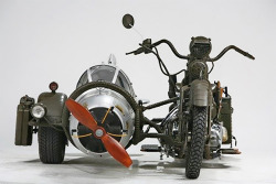 Sidecar Made From WWII German Fighter Plane and Yamaha Motorbike