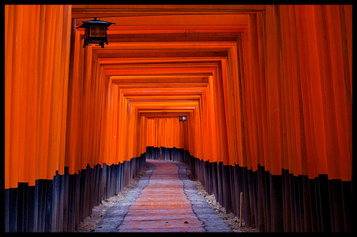"Torii at Fushimi-Inari Taisha, Kyoto (via Eric Flexyourhead) Kyoto's Fushimi-Inari Taisha was the number one location on Mari's list of ""must see"" places in Kyoto. Probably the most amazing thing about Fushimi-Inari Taisha is the thousands of red torii (gates)."