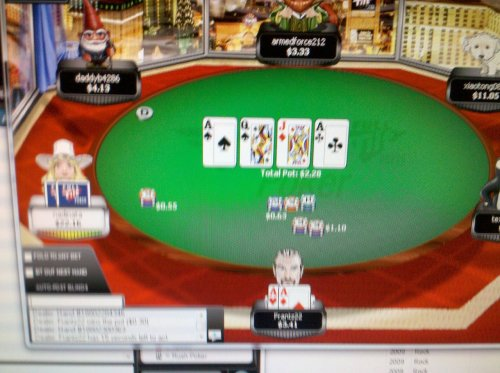 frantzfrantzrevolution:  It's a little hard to see, but I scored quad aces today. I slow played the kid and then took all his money!