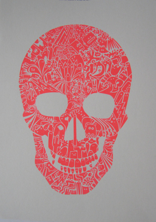 'Fluoro Skull', by James Bates. 42 x 30 cm, screenprint on paper. Number 25 0f 50. Unframed.  £60  On sale at Pure Evil Gallery, 100% of sale price goes to The Bhopal Medical Appeal.pureevilgallery.arloartists.com/portfolios/31041-bhopal-m…