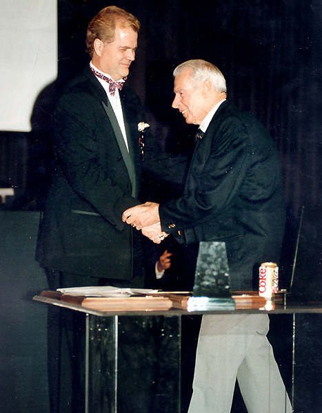 Early 1999; Joe DiMaggio and Chet Coppock shake hands at the 1999 Italian-American Sports Hall of Fame banquet. Coppock emceed the event.It was the last banquet Joe ever attended.