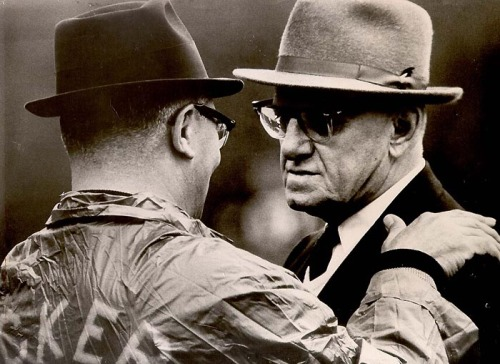 1967; Chet Coppock's most-prized photo!!! Packers coach Vince Lombardi (left) and Bears owner GeorgeHalas Sr. (right) photographed the last time they were on the field together.
