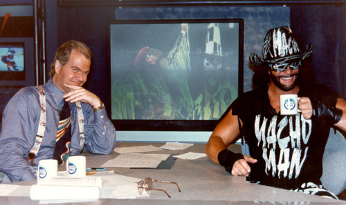 1997; Macho Man Randy Savage joins Chet Coppock on his NewSport TV talk show in New York.