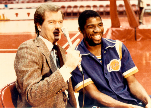 1983; Chet interviewing Magic Johnson at Chicago Stadium prior to a Lakers-Bulls game.