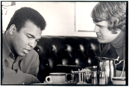"1974; Chet Coppock interviewing Muhammad Ali days before the boxing legend left for Zaire to fight George Foreman in the famed ""Rumble in the Jungle."""