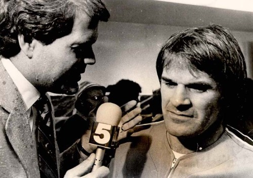 1983; Chet Coppock asks Pete Rose a few questions after the Philadelphia Phillies knocked off the Chicago Cubs to clinch the 1983 NL East title.