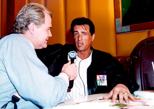 1996; Chet interviews action movie star Stylvester Stallone during his NewSport Talk gig in New York.
