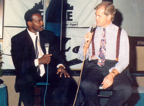1991; Speaking with the late, great Walter Payton during a Chicago Bears luncheon at Mike Ditka's restaurant