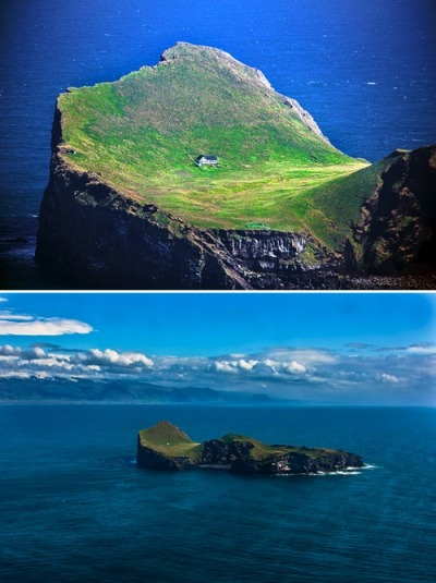 "This little house is located on an island called Elliðaey near Vestmannaeyjar, a small archipelago off the south coast of Iceland. The house was given to Björk as a ""Thank You"" for putting Iceland on the international map. So beautiful."